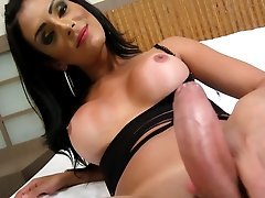 Hung Shemale from Brazil stroking her MEGA MEAT