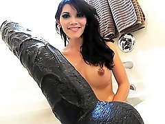 Nasty Eva Lin rides a black monster cock