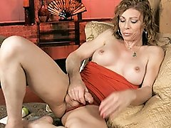 Hot MILF Jasmine Jewels playing with her huge cock