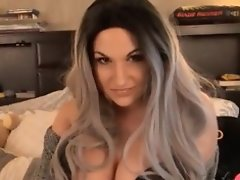 Bailey Jacks Furiously until Her Cum Explodes out her Throbbing Cock