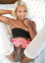 Beautiful as always, young black tgirl Gretchen Feinburg is horny and eager to play with her cock! Watch her stroking it until she cums!