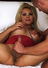 Blonde and Very Curvy Tranny gets fucked nice and deep in her tight asshole